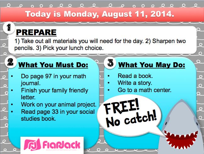 FREE Shark-Themed Morning Work Templates in PowerPoint to edit your morning work instructions!