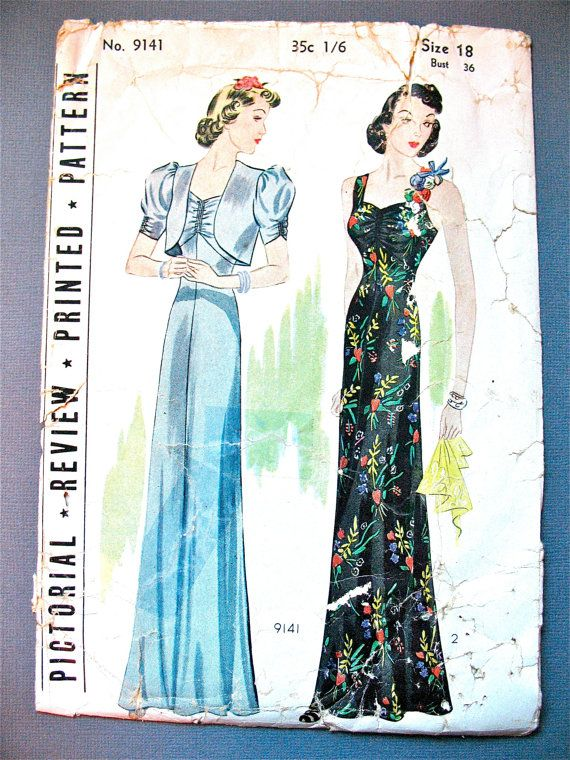 1930s Evening Gown Pattern by Pictorial Review 9141  Bust 36 inches
