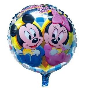 Бесплатная доставка 18 дюймов круглая форма микки и минни маус шар для день рождения украшения с днем рождения гелиевые шары