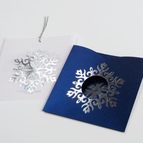 Blue Snowflake Corporate Christmas Cards UK - Snowflake on Blue - Polina Perri
