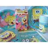SpongeBob SquarePants Theme Birthday Party or Pool Party Package ~ Invitations, Thank-You Postcards, Dinner Plates, Dessert Plates, Napkins, Cups, and Loot Bags (Treat Sacks) ~ Serves 8 Guests (Toy) http://lembarpembaca.blogspot.com
