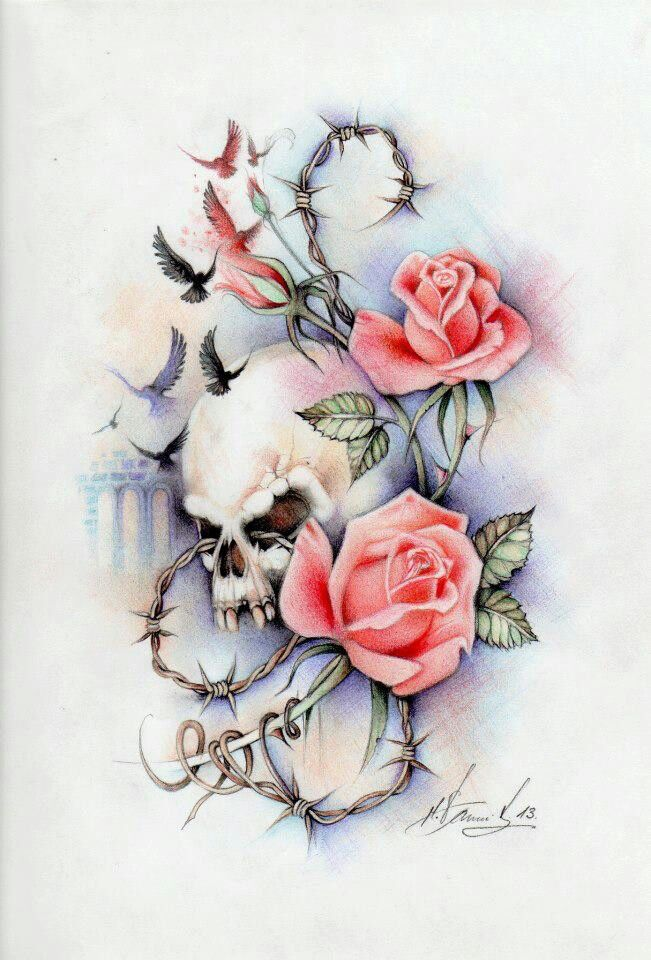 Feminine skull roses right fore arm with words? for good and evil