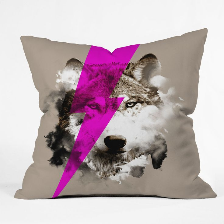 Robert Farkas Wolf Rocks Throw Pillow | DENY Designs Home Accessories