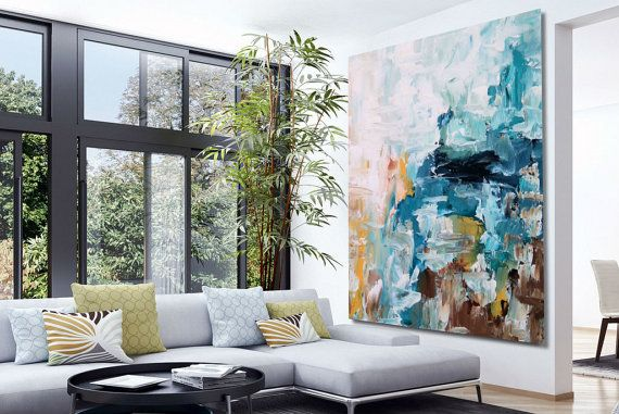 Getextureerde grote abstracte schilderij Acryl door ObaidAbstractArt