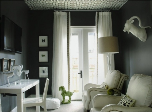 Glam little TV room.