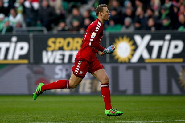 Manuel Neuer, goalkeeper of Muenchen celebrates during the Bundesliga match between VfL Wolfsburg and FC Bayern Muenchen at Volkswagen Arena on February 27, 2016 in Wolfsburg, Germany.