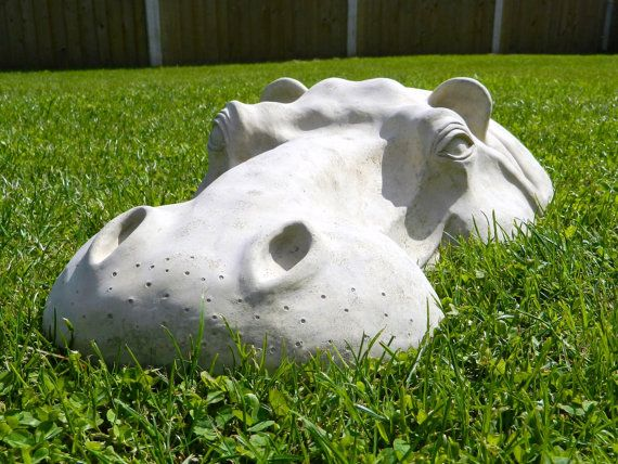 "Hippo, Hippopotamus Large Head, Lawn Garden Ornament, Sculpture 22"" Long, Detailed $61.39"