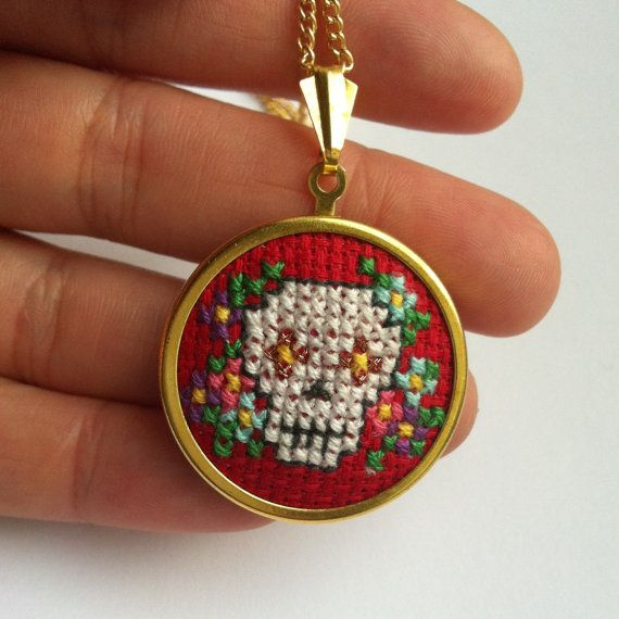 Mexican Day of the Dead Sugar Skull Cross Stitch by MaMagasin, £20.00