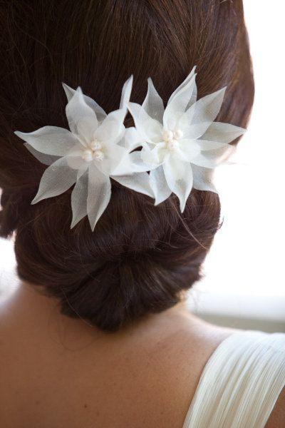 Pure Silk Bridal Hair Flowers Bridal Hair Pins por FiberStone