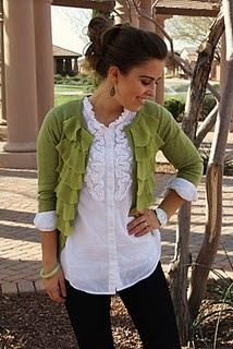 I would love this in a different color sweater. I hate that green color.