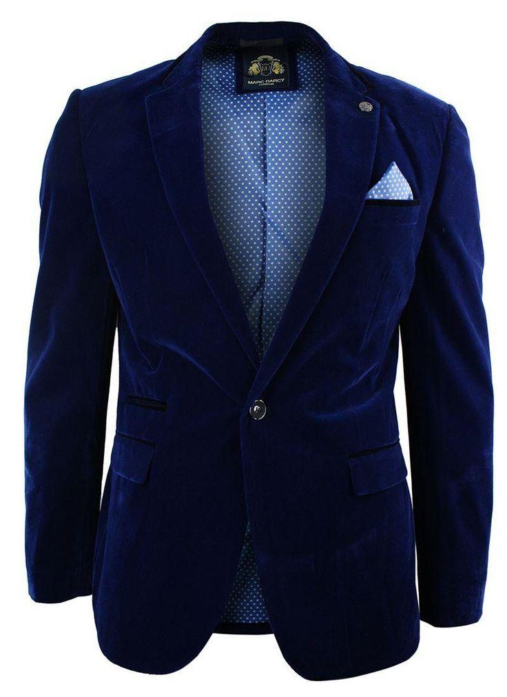 Mens Velvet Royal Blue Blazer Jacket Slim Fit Smart Casual Navy Trim.