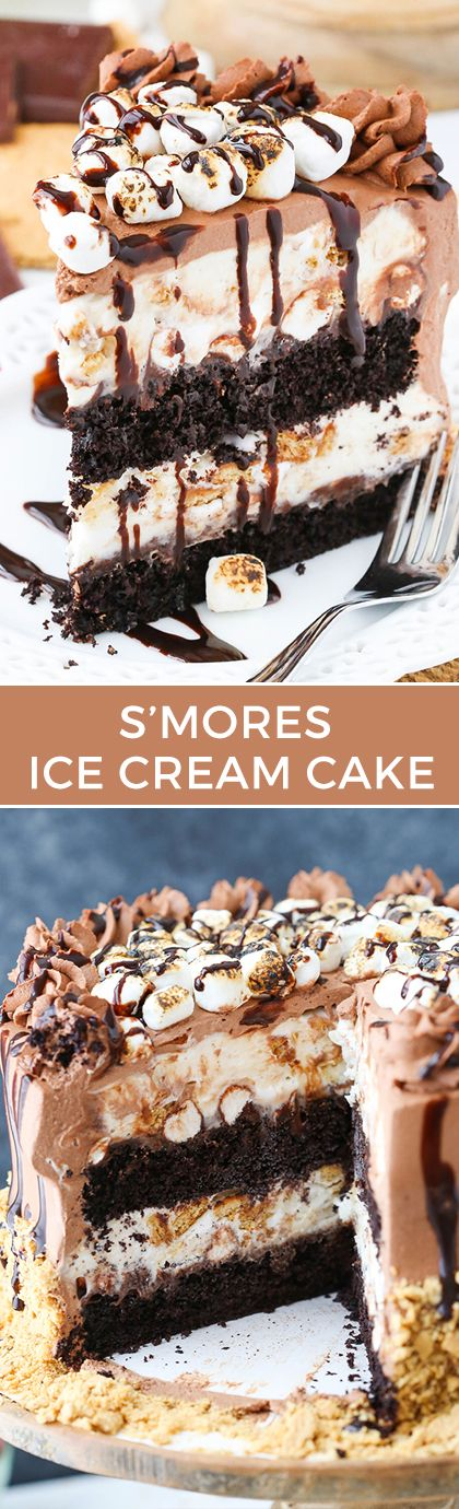 Smores Ice Cream Cake - Moist chocolate cake, chocolate fudge filled with marshmallows and a no churn ice cream with a marshmallow ribbon and graham crackers! To die for!
