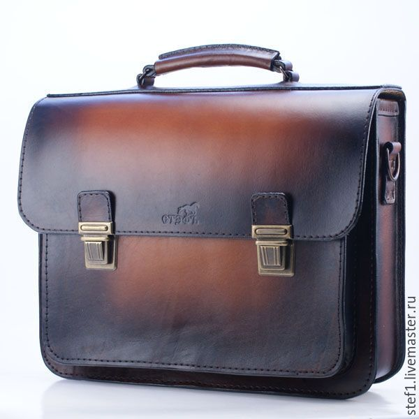 """Купить Портфель кожаный """"Деловой акцент"""" - коричневый, подарок мужчине, мужчине, сумка ручной работы"""