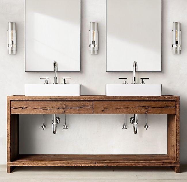 Oak Br L Waterfall Double Washstand Master Bathroom Renovation Bath Furniture Custom Size Rugs