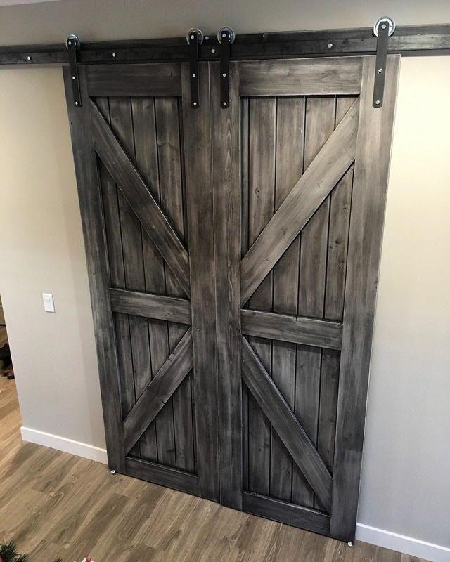 His Her Home Double Sliding Barn Doors In Custom Grey Finish Barndoors Slidingbarndoors Double Sliding Barn Doors Barn Doors Sliding Diy Barn Door