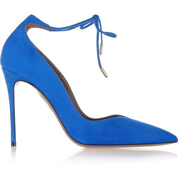 Aquazzura Allure suede pumps (850 CAD) found on Polyvore featuring women's fashion, shoes, pumps, heels, aquazzura, blue, high heel pumps, suede leather shoes, blue heel pumps and blue heel shoes