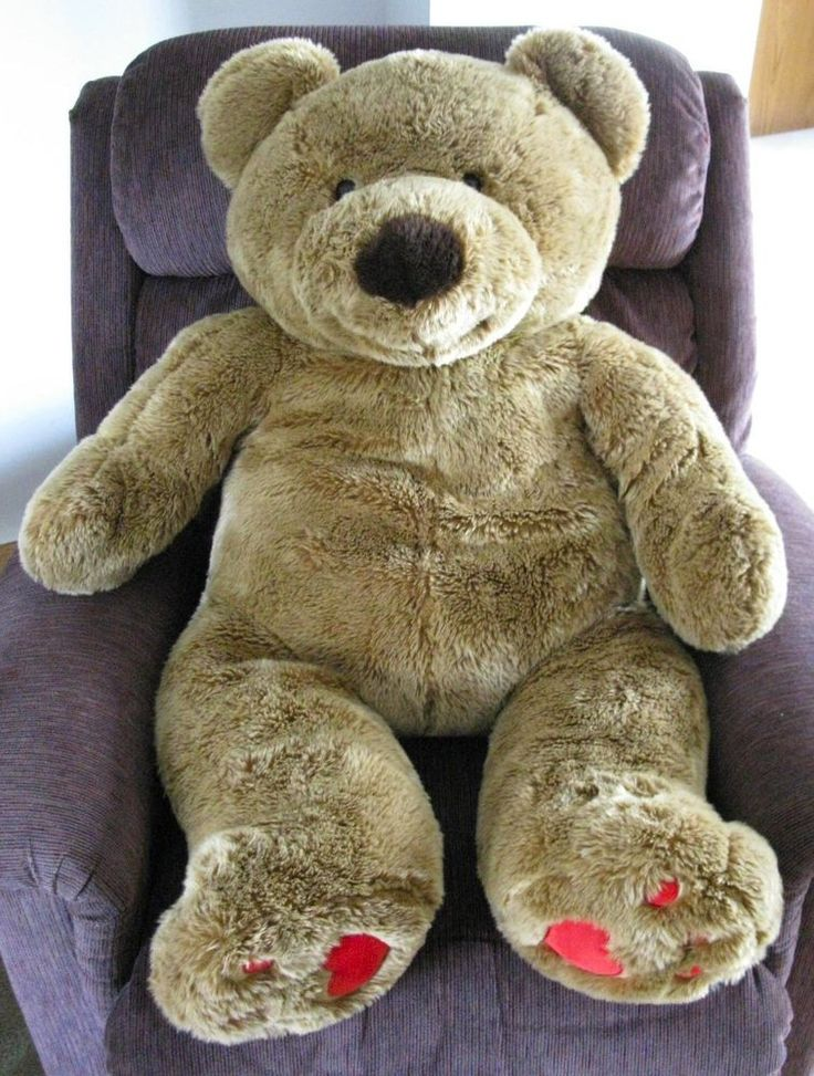 "Walmart Jumbo Teddy Bear Plush 45"" Life Size Huge Tan Brown Stuffed Animal Giant #Walmart #AllOccasion"