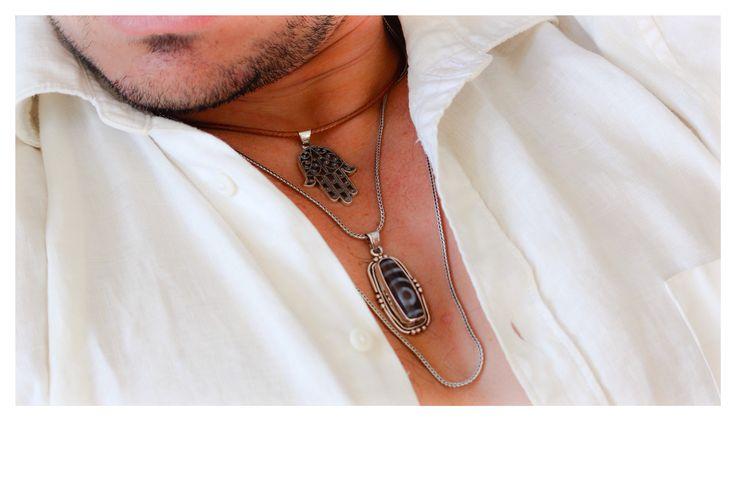 Tibetan Dzi bead pendant. Sterling silver hand of Hamsa pendant. Sunday sessions. Inspired Tribe. Men's jewellery shoot.