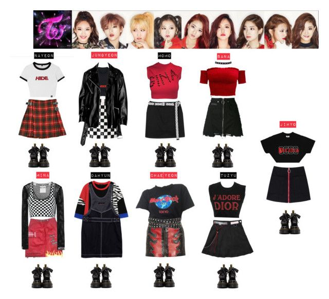 TWICE - LIKE OOH AHH♡️💙💚💜💛💖 by vvvan99 on Polyvore featuring polyvore moda style Christian Dior Moschino Dolce&Gabbana Alexander Wang Prada Anthony Vaccarello County Of Milan Ashish Dr. Martens Lamoda Wet Seal fashion clothing