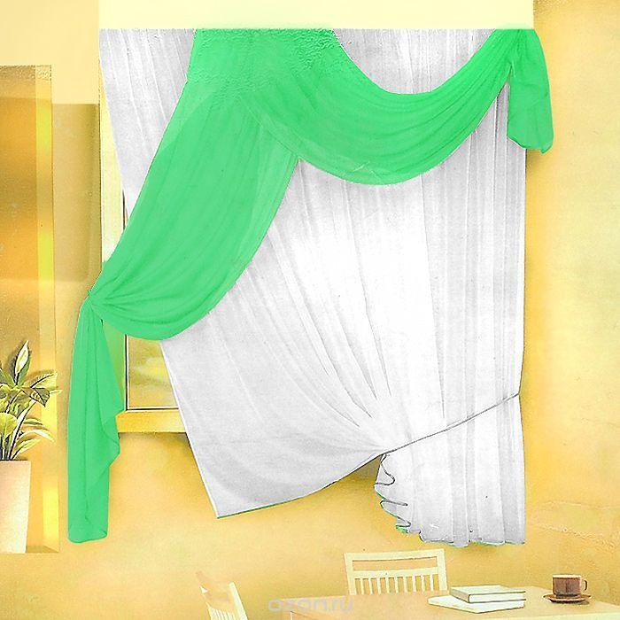 Комплект штор для кухни Zlata Korunka, на ленте, цвет: белый, салатовый, высота 170 см. Б066Б066 салатовыйКомплект штор Zlata Korunka, изготовленные из легкого полиэстера, станут великолепным украшением кухонного окна. В набор входит тюль белого цвета и ламбрекен салатового цвета. Для более изящного расположения тюля на окне прилагается подхват. Все элементы комплекта на шторной ленте для собирания в сборки. Оригинальный дизайн и приятная цветовая гамма привлекут к себе внимание и органично…