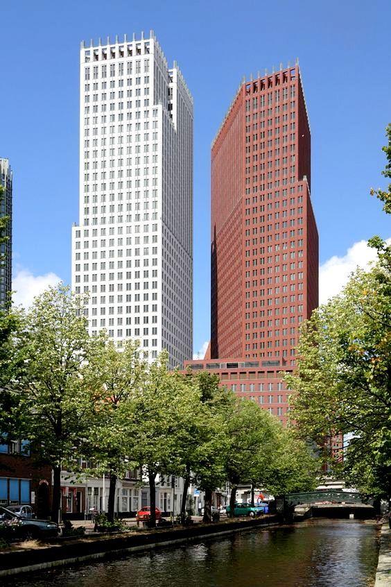 Den Haag - December 2012 werden de nieuwe torens voor de ministeries van Veiligheid & Justitie en Binnenlandse Zaken & Koninkrijksrelaties.Ministerie opgeleverd in het Wijnhavenkwartier