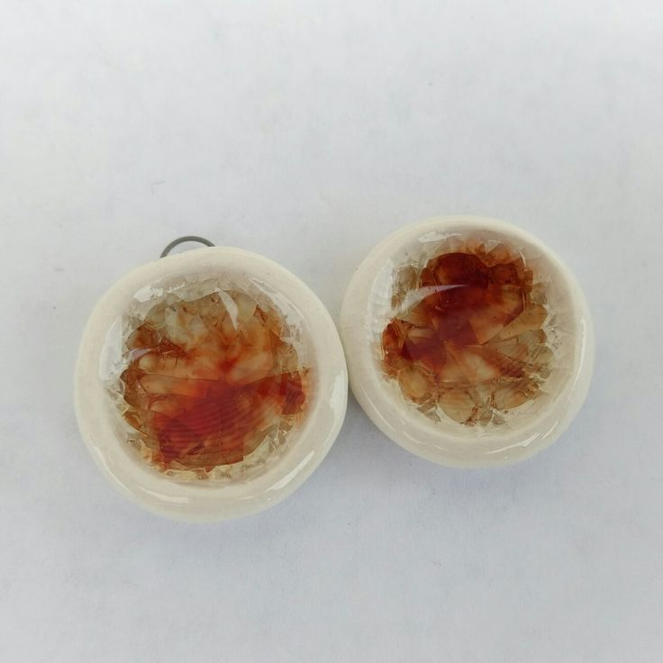 Handmade stoneware and red glass pendants - SM Pottery