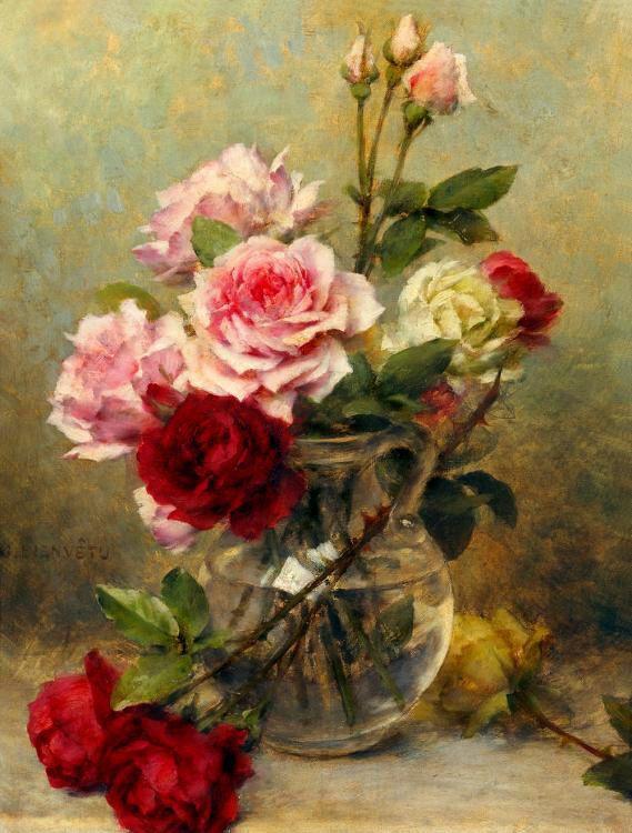 Enorme óleo pintura Gustave Bienvetu - um vaso de flores de beautifl quarto criança reversível na lona
