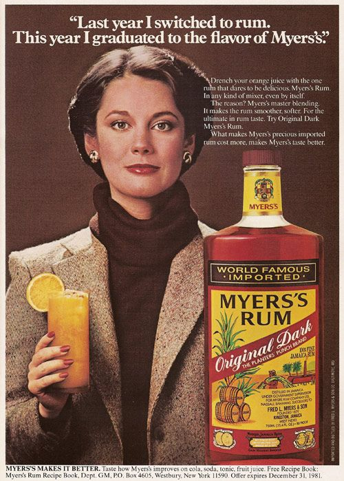 Myers's Rum, ad from 1980.