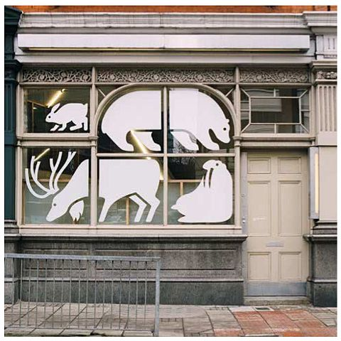 Window of Cartlidge Levene Design Studio in London. This would look awesome in the windows of our studio space!