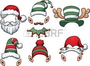 Sombreros de dibujos animados de Navidad. Vector de im�genes predise�adas ilustraci�n con gradientes simples. Cada uno en una capa separada. photo