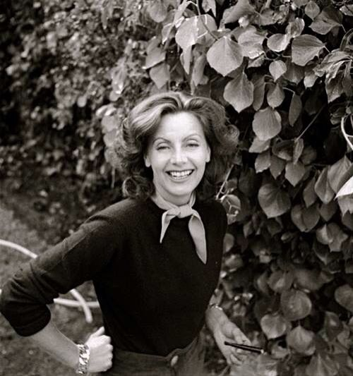 Garbo after her career, laughing