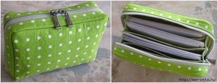 porte-monnaie ou petit sac multi compartiments... à faire aussi en grand pour en faire un classeur