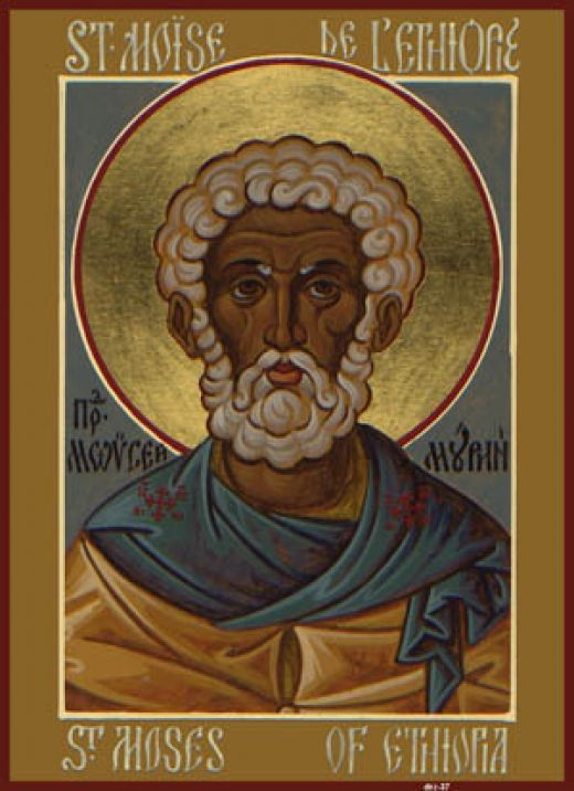 St Moses the Black icon | Handpainted Ethiopian Wood Inlaid Icon Ethiopia Art
