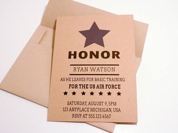 Invitation for Airforce Basic Training Farewell Invitation for