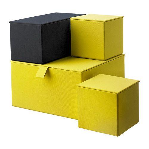 IKEA - PALLRA, Kannellinen laatikko, 4 kpl, tummankeltainen tai vaaleanpunainen