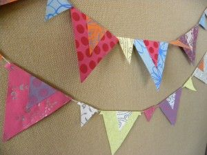 Paper bunting has limitless possibilities!  Here's one with doubled-up patterns and sizes.