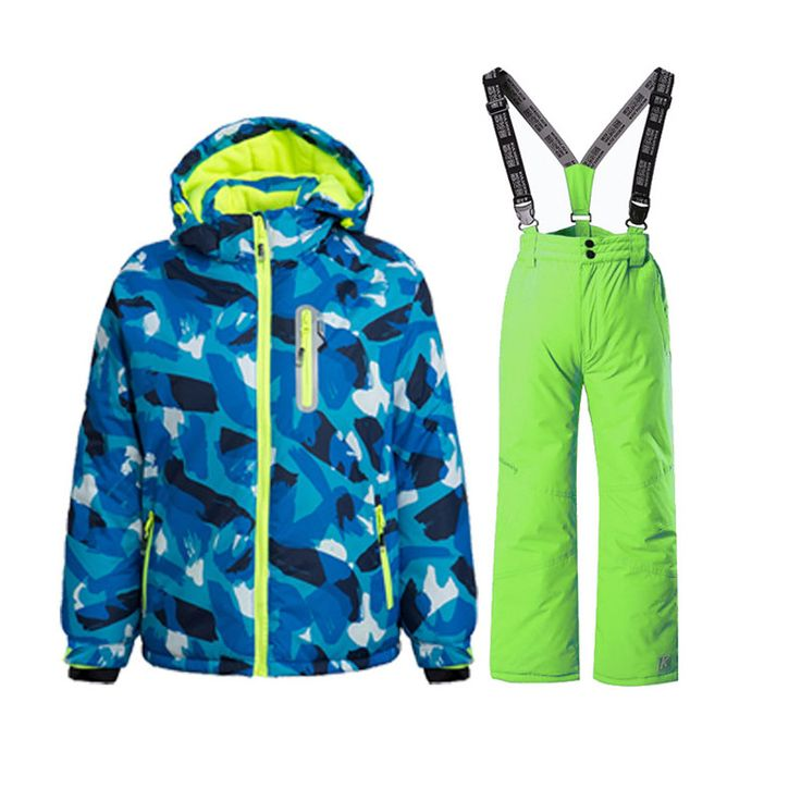 2017 new big brand boys/girls ski suit waterproof windproof snow pants jacket a Set of Winter Sports Child Thickened Clothes