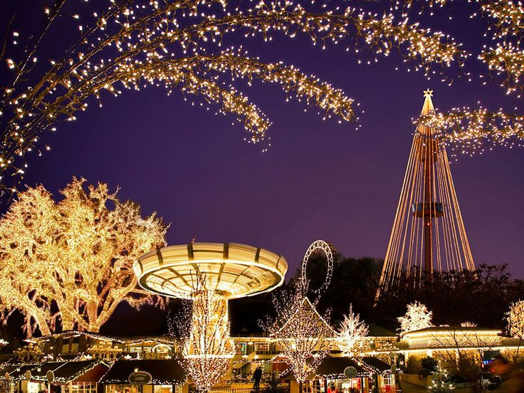 "GOTHENBURG, SWEDEN Visitors can follow the ""Lane of Light,"" leading from the Gothenburg's harbor to the local traditional Christmas market at Liseberg Amusement Park, which comes draped in no fewer than five million Christmas lights. (cntraveler.com)"