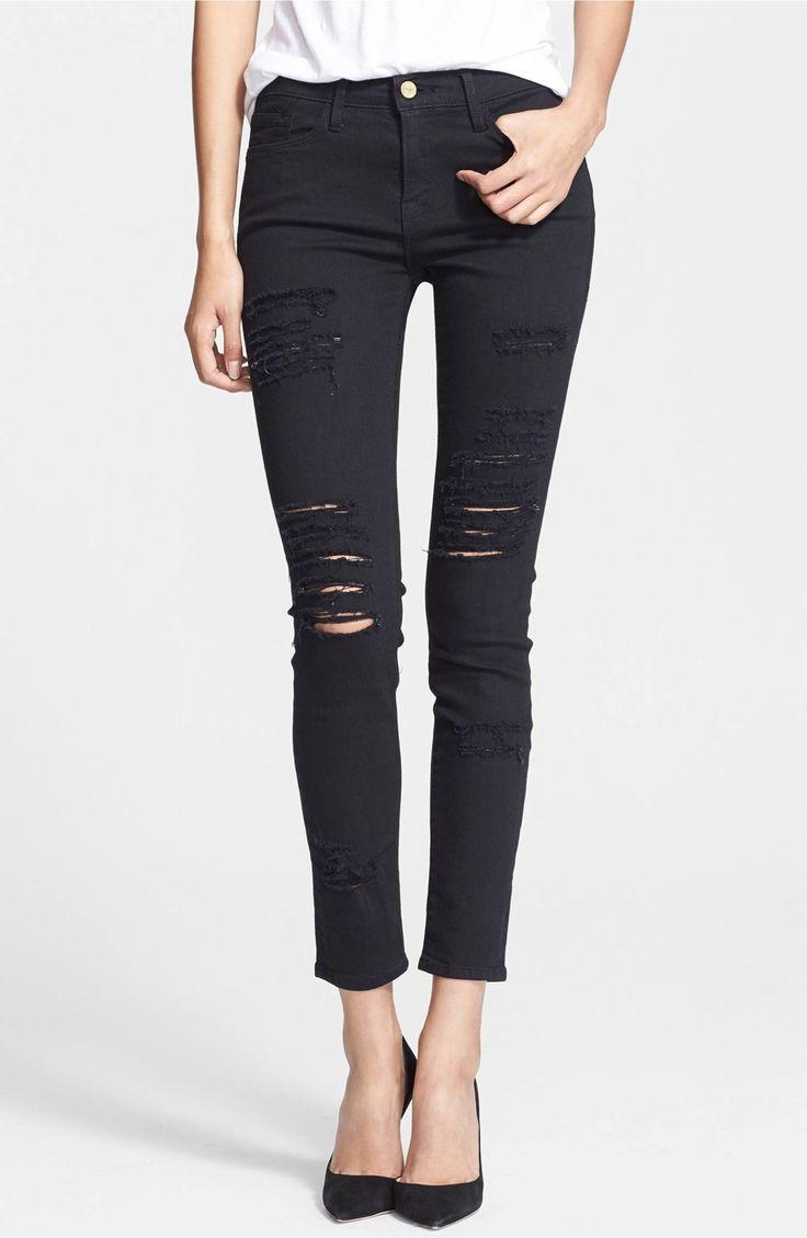 Main Image - FRAME Le Color Rip Skinny Jeans (Film Noir)