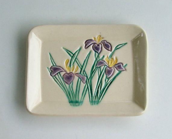 Placa construida de la mano, Iris pintada a mano