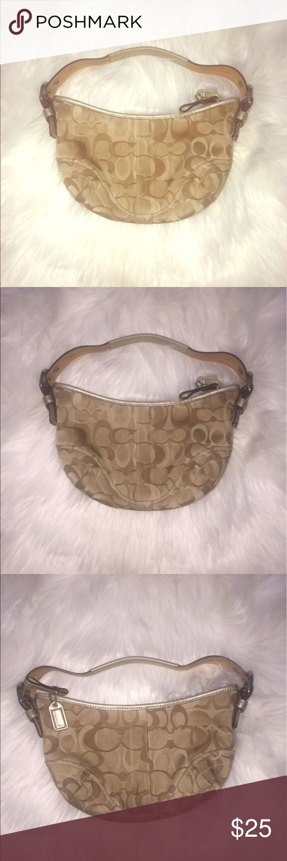 Coach Beige and Gold logo mini hobo shoulder bag Preowned in good condition. Only flaw to note is that there are light scratches on the silver tone metal hard ware and light blemish on upper right has corner ( not overly noticeable. Coach Bags Shoulder Bags