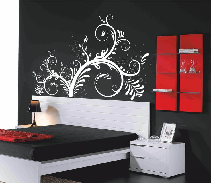 Vinilo decorativo cabecero de cama motivo floral 1.