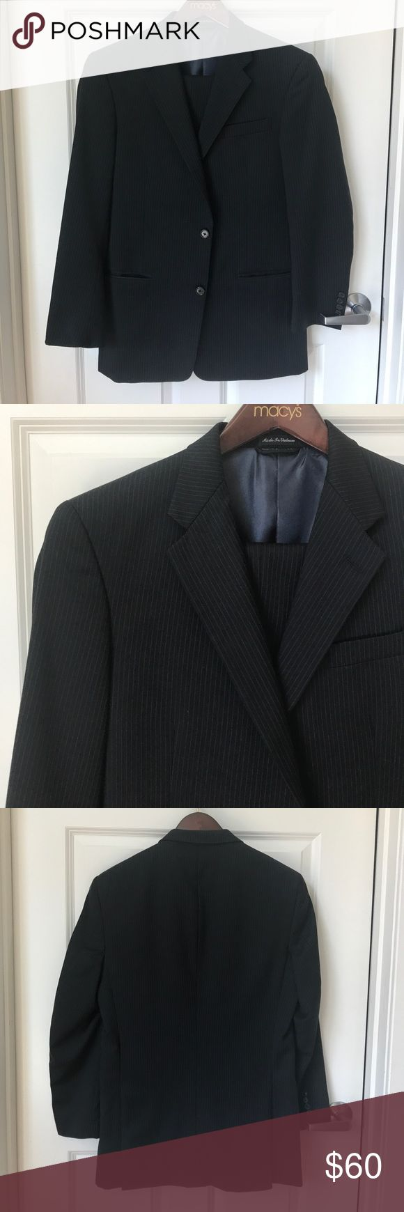 {PIERRE CARDIN} Navy Pinstriped Suit 100% Wool suit with polyester lining. Jacket is size 38R with two buttons and interior and exterior pockets. Pants are size 32W x 30L. Pierre Cardin Suits & Blazers Suits