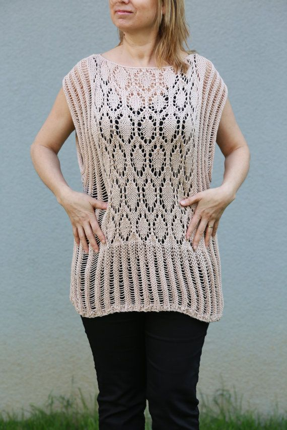 Hand Knitted Ecru Summer Spring Top, Loose Blouse, Shrug Sweater, Cream Tunic, Ivory Knitwear, Slouchy Beige Shirt , White Top
