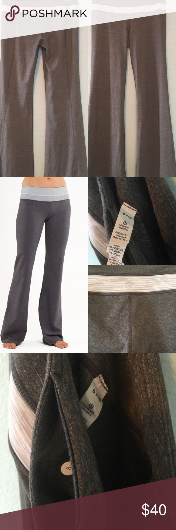 "NWOT Lululemon Groove Pant I'm a 10 took off the tags and tried them on once never wore them. Washed and then hung dried.  fabric(s): luon® properties: moisture wicking, preshrunk, chafe resistant, breathable, four-way stretch rise: low leg fit: flare inseam: 31 1/2"" hem sweep: 20 1/2"" lululemon athletica Pants"