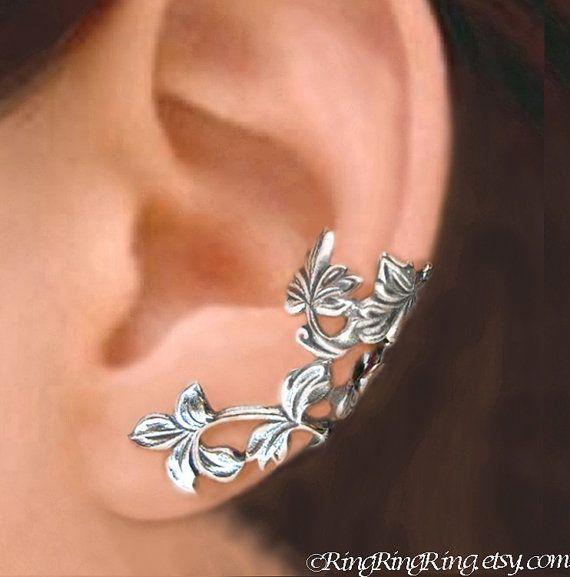 Spring Leaf ear cuff Sterling Silver earrings Leaf door RingRingRing