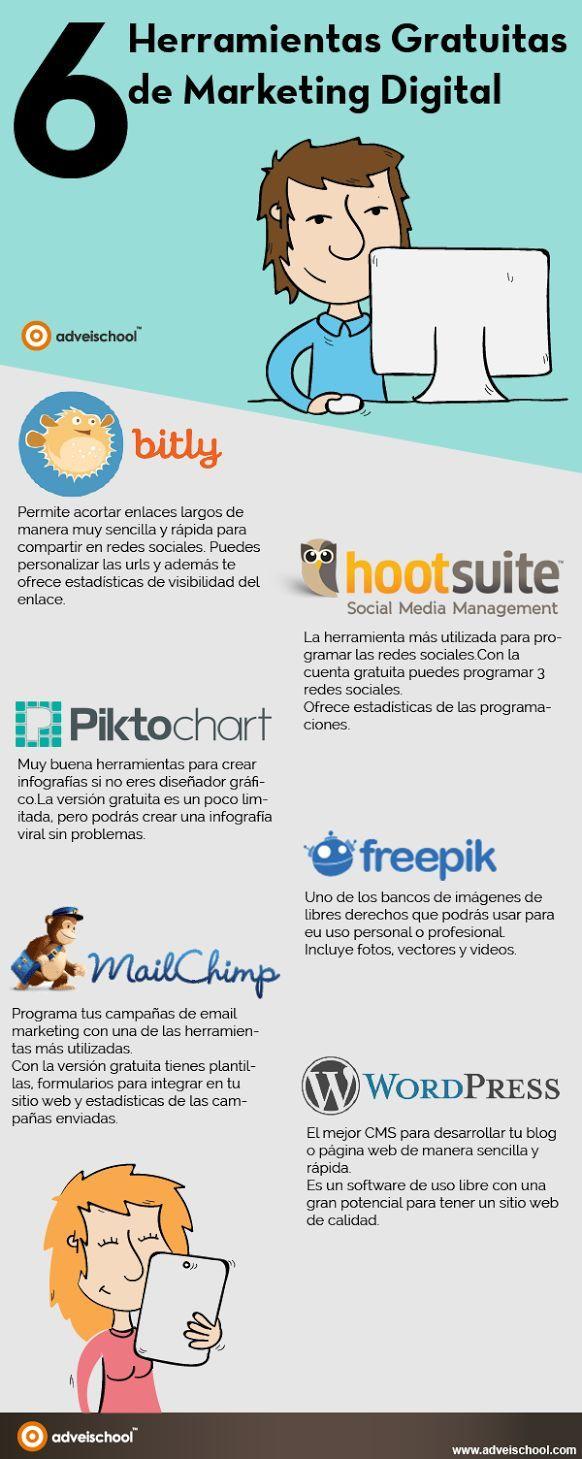 6 herramientas gratis para Marketing Digital #Infografico                                                                                                                                                                                 Más Leia os nossos artigos sobre Marketing Digital no Blog Estratégia Digital.