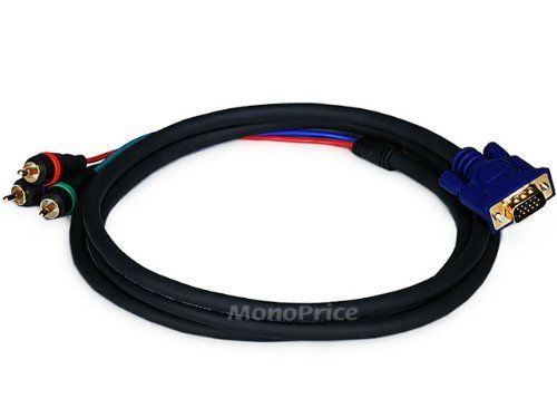 Monoprice 6ft VGA to 3 RCA Component Video Adapter for Projectors by Generic. $4.82. This cable is intended for use with projectors that use a VGA connector for its component (YPbPr) video connection. This cable DOES NOT CONVERT VGA signals to component video or vice versa - it functions only with devices that use the VGA connector for component video. This cable has an DE15 (HD15) VGA/SVGA connector on one end and three, color-coded RCA connectors on the other end. Th...