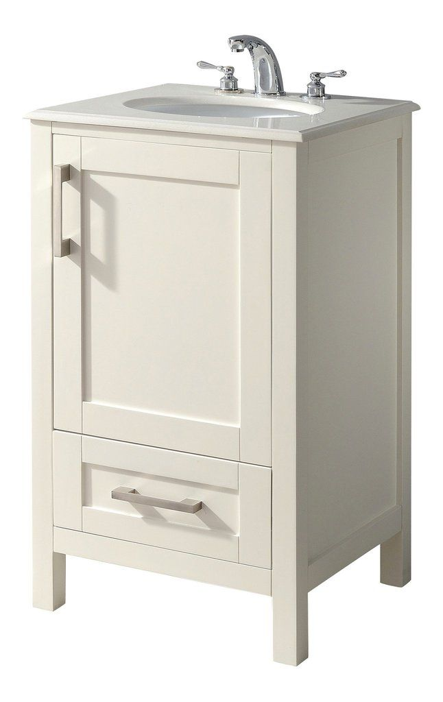 Westbridge 20 Inch Bath Vanity In Soft White With Bombay White