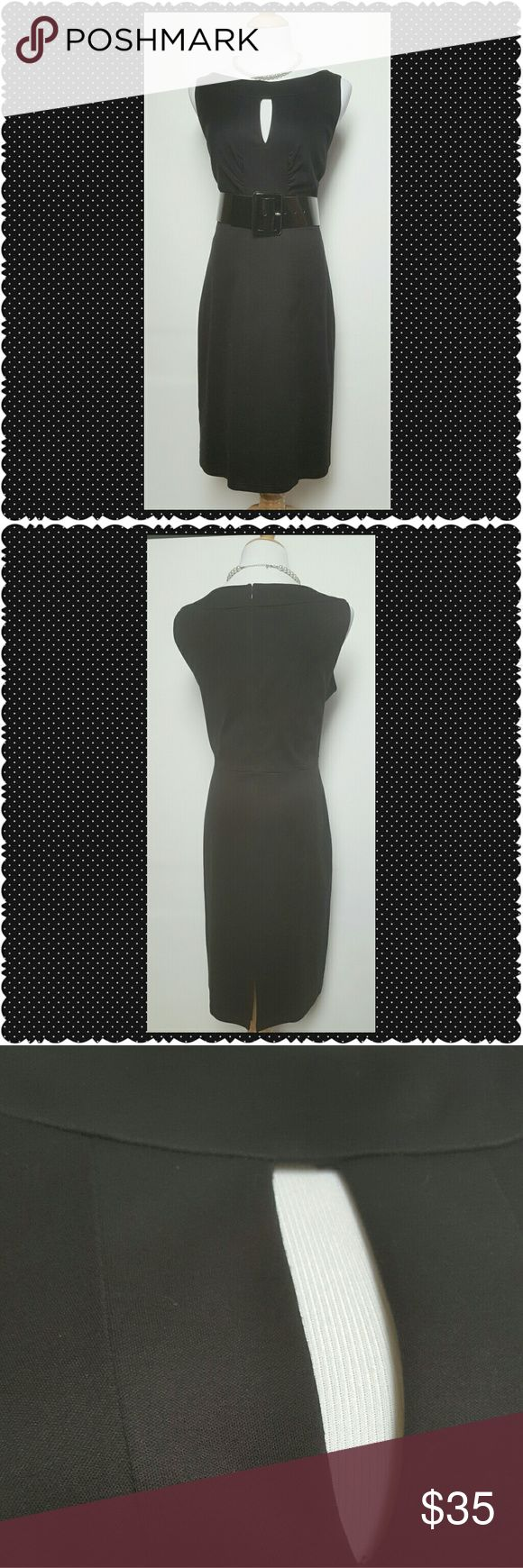 Kay Unger Black Dress Kay Unger Black dress. Sleeveless,  back zip closure with accent keyhole cut out. Perfect, no flaws. Belt not included. Kay Unger Dresses